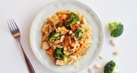 Rýžové nudle smarinovaným tofu a zeleninou
